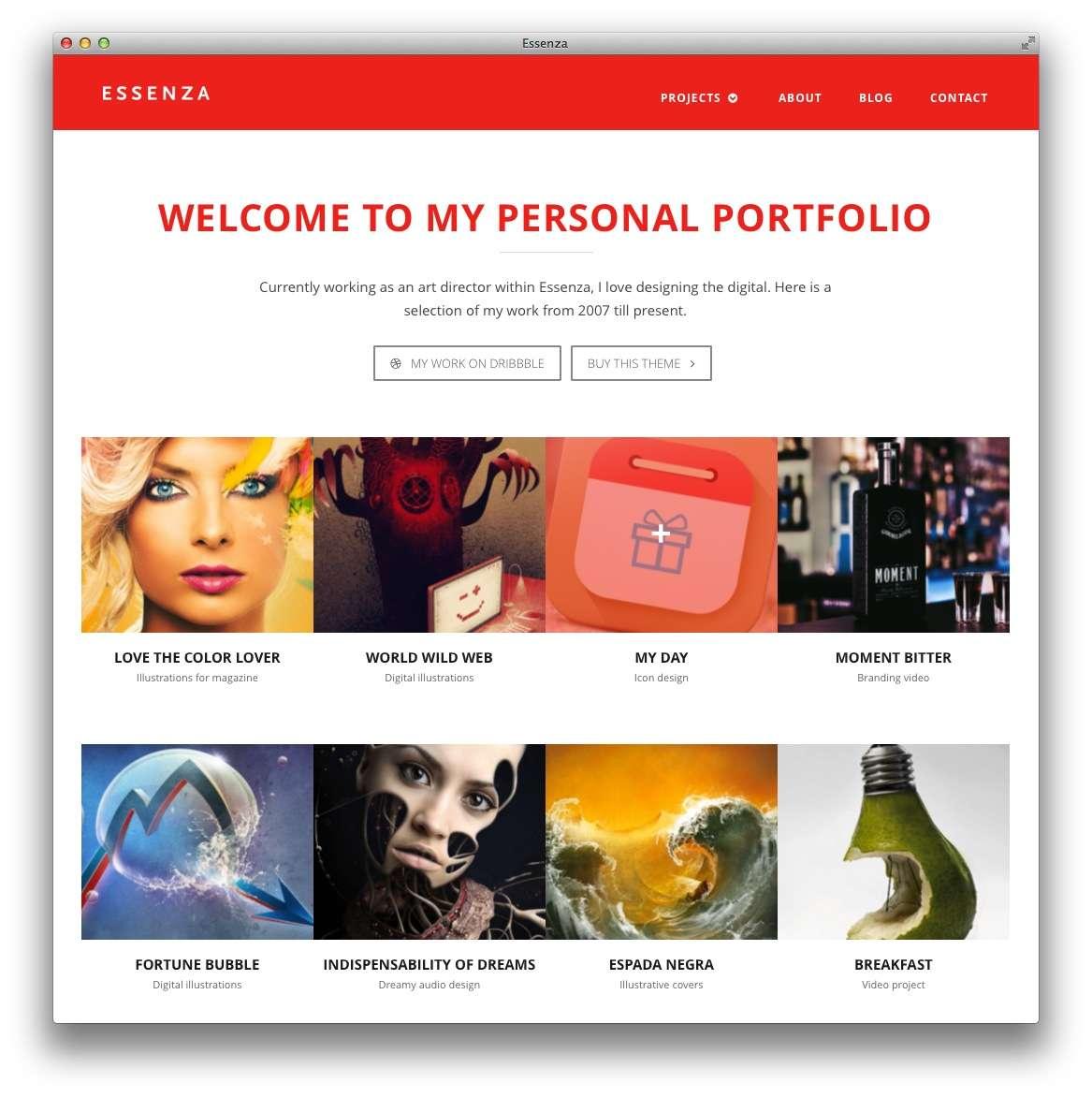 Веб-сайт портфолио на базе wordpress