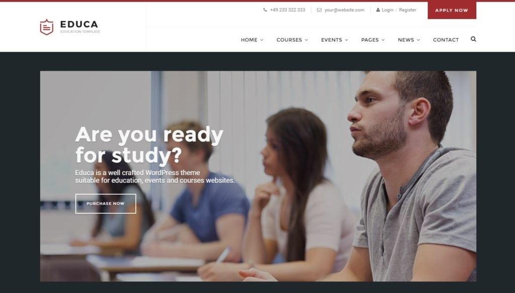 сайт для курсов школы университета на WordPress 02