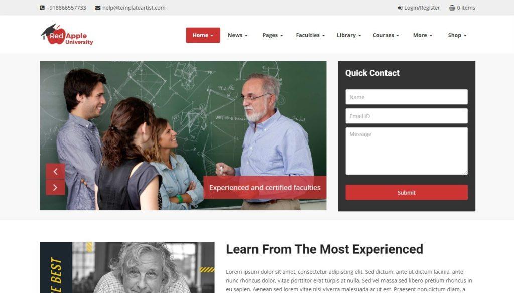 сайт для курсов школы университета на WordPress 05