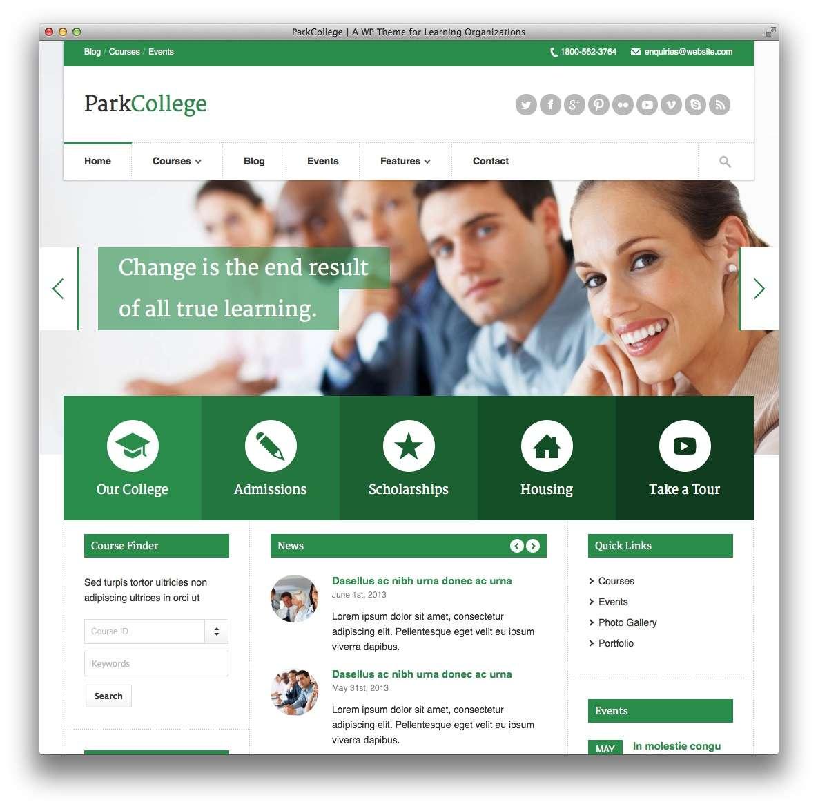 Качественный сайт для курсов школы университета на WordPress 2015