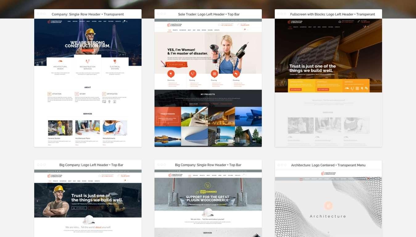 Профессиональные шаблоны сайта строительной компании на Вордпресс 2016