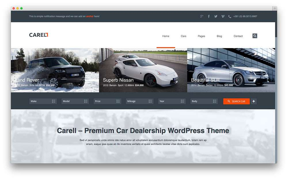 отзывчивые темы WordPress для сайта автосалона