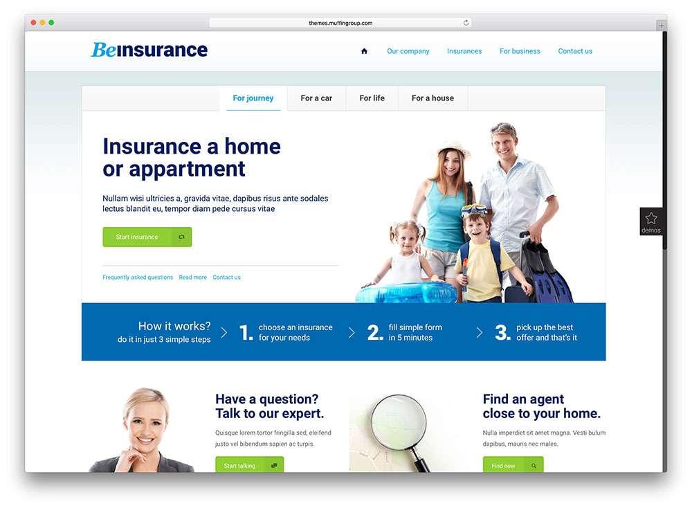 Шаблоны WordPress для страхования и финансов 2016