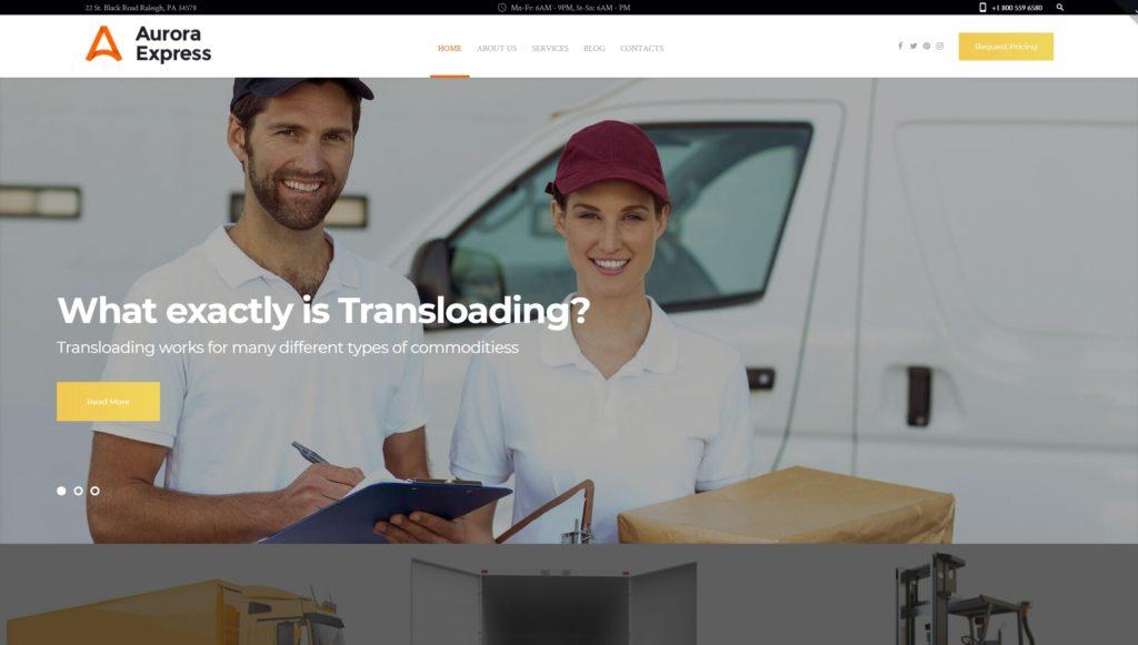 Шаблоны WordPress для логистики и транспорта с формой заказа 02