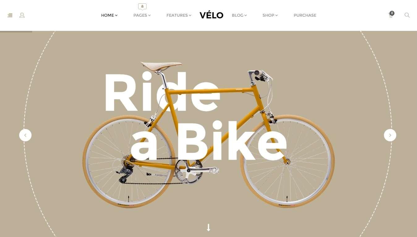 Velo - готовый интернет магазин для продажи велосипедов на wordpress