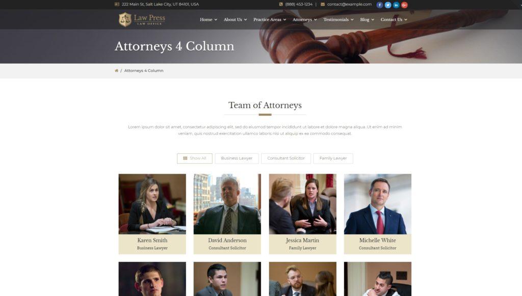 Деловые темы WordPress для адвокатов и юристов с формой записи 01
