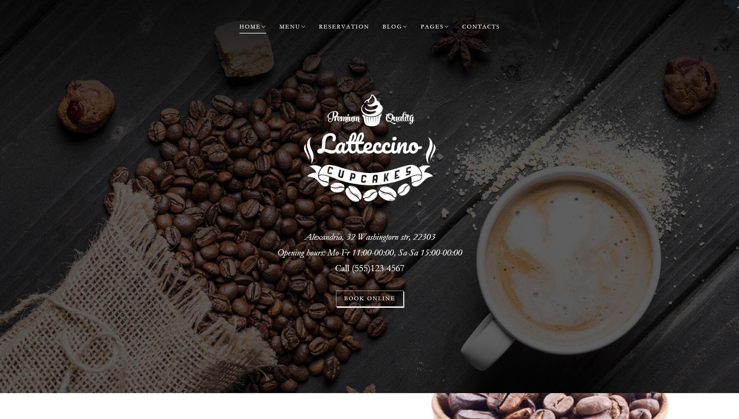 WordPress сайты для кондитерской или кофейни с красивым меню