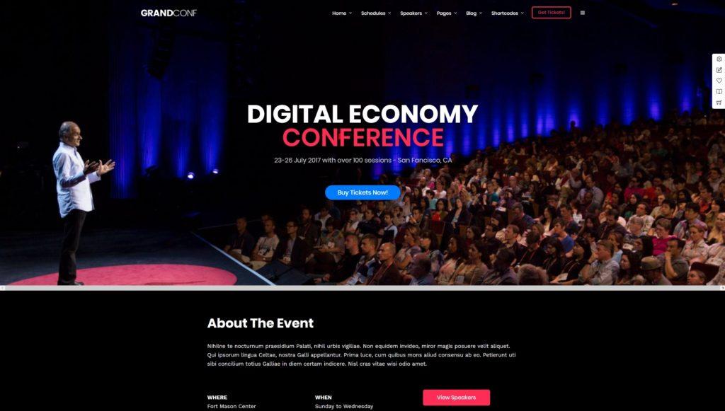 красивые шаблоны WordPress конференции и событий с онлайн-календарем 04
