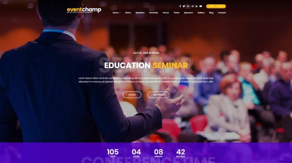 красивые шаблоны WordPress конференции и событий с онлайн-календарем 06