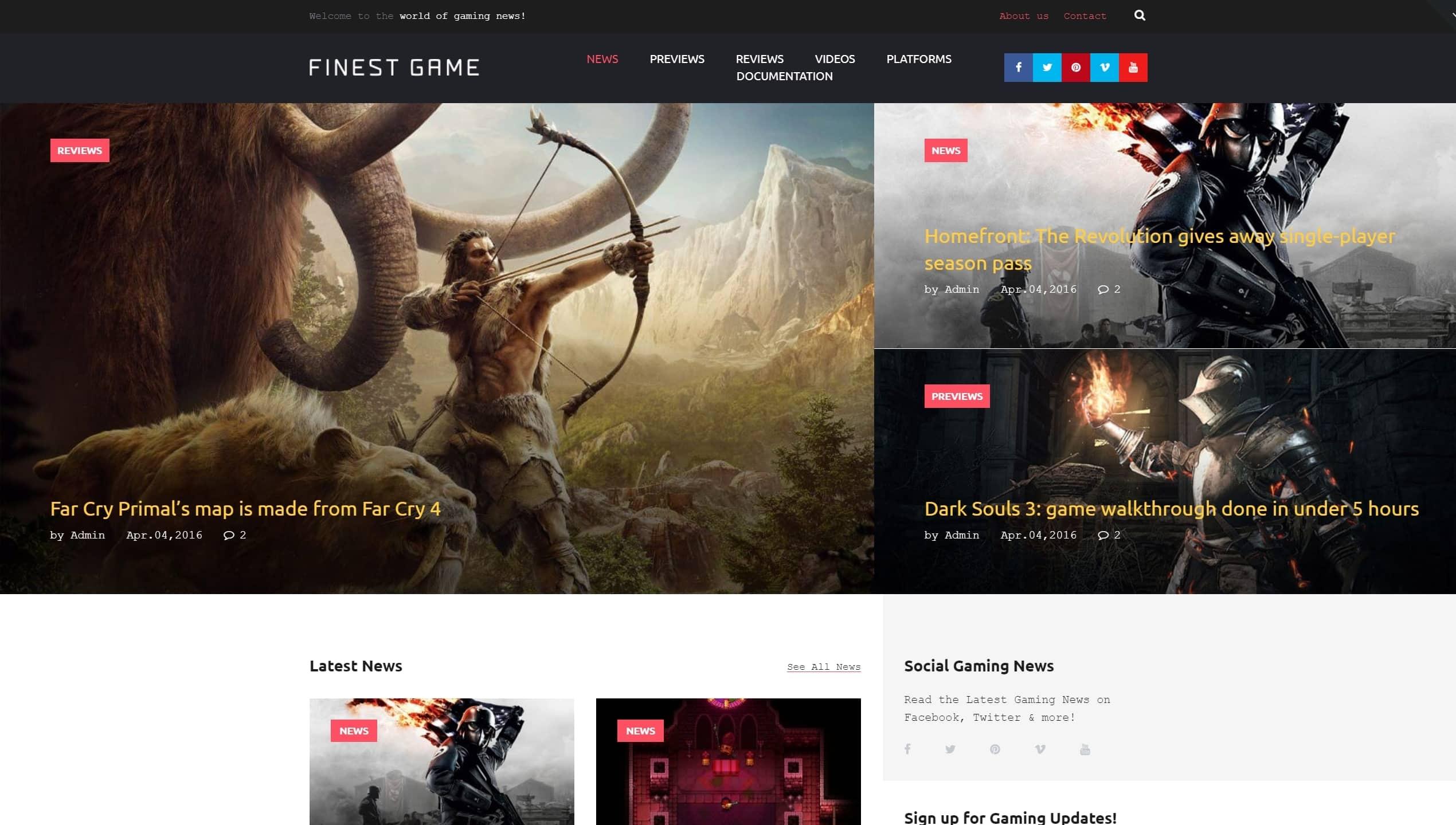 Красивые WordPress шаблоны для геймеров и игровых сайтов