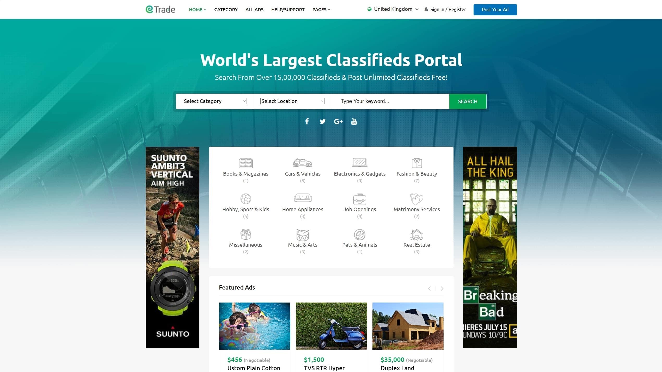 Лучший шаблон сайта объявлений на WordPress с приемом оплаты