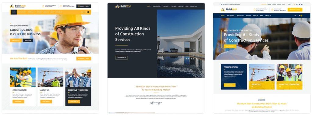 профессиональные шаблоны сайта строительной компании на Вордпресс с красивым дизайном 01
