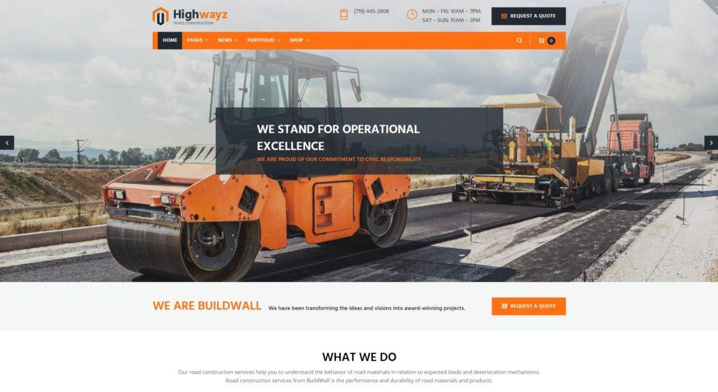профессиональные шаблоны сайта строительной компании на Вордпресс с красивым дизайном 02