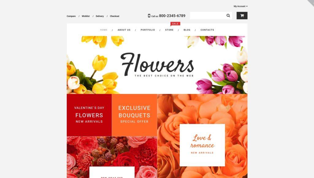 Лучший шаблон магазина цветов с уверенным продвижением 03