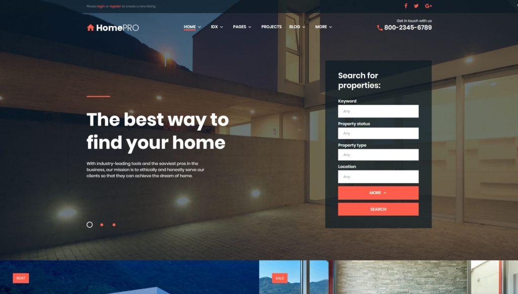 Лучший шаблон сайта недвижимость: готовый сайт агентства 02