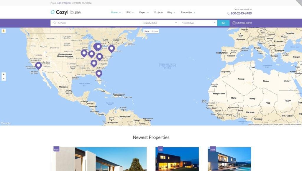 Лучший шаблон сайта недвижимость: готовый сайт агентства 03