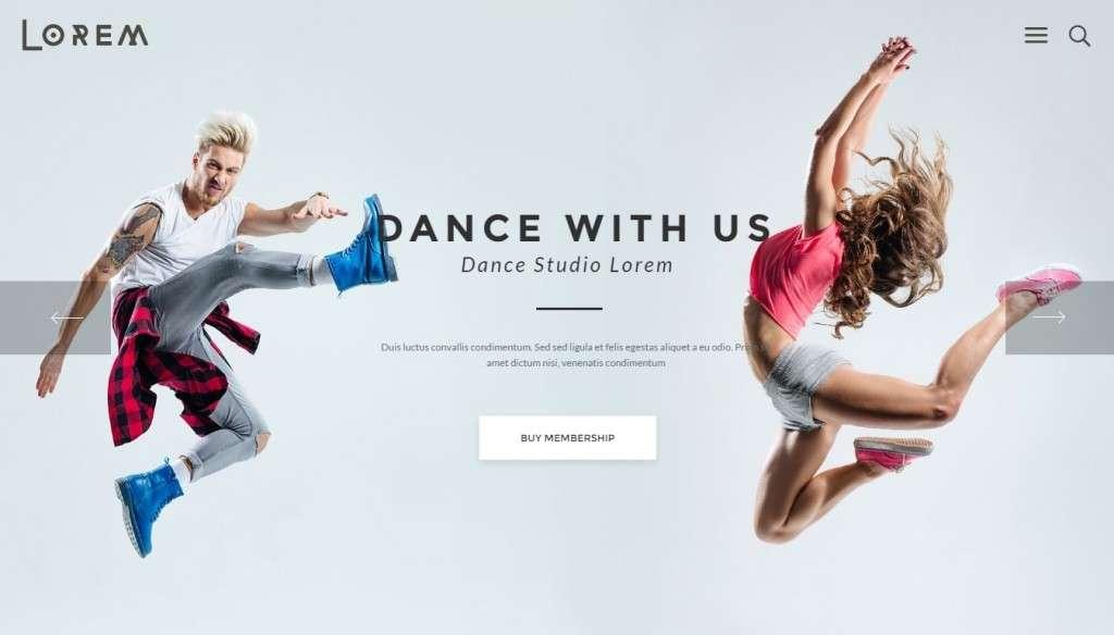 качественные шаблоны WordPress для школы танцев, танцевальной студии и клуба