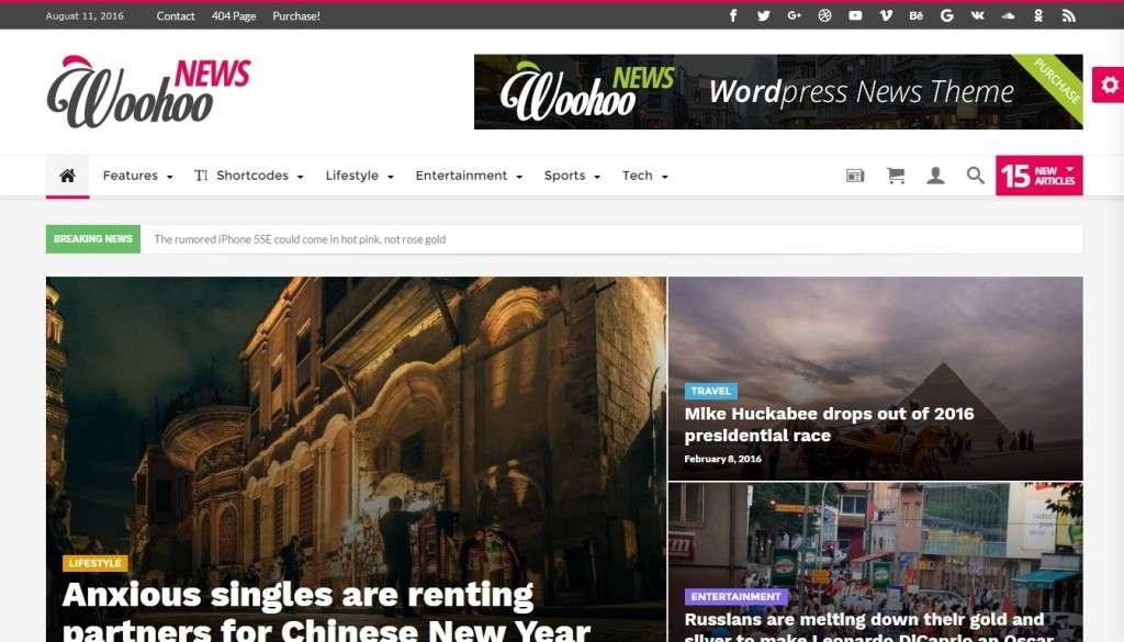 красивые шаблоны WordPress СМИ - новостные темы WordPress 2016