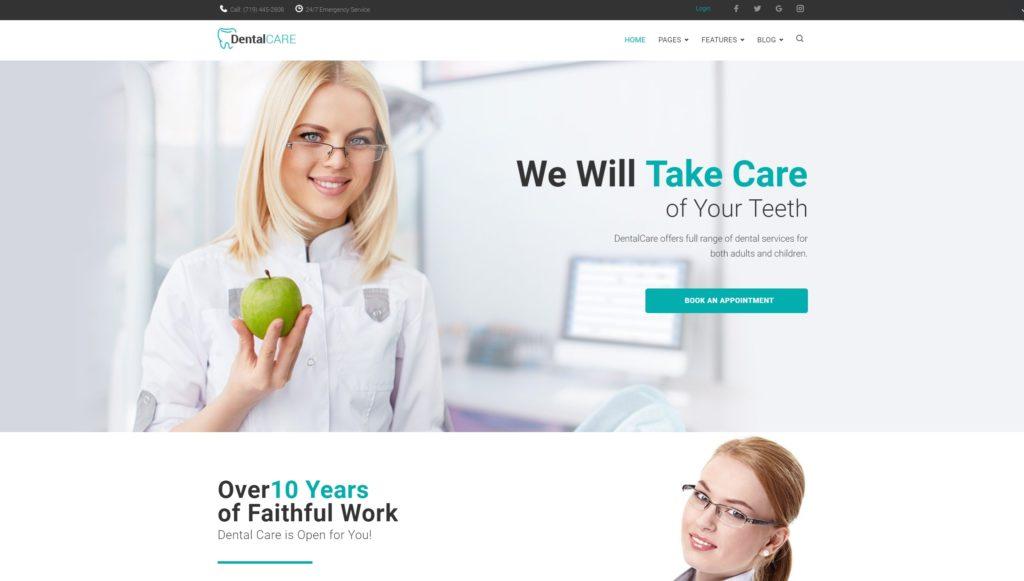 Готовый сайт для врача стоматолога на WordPress с записью 01