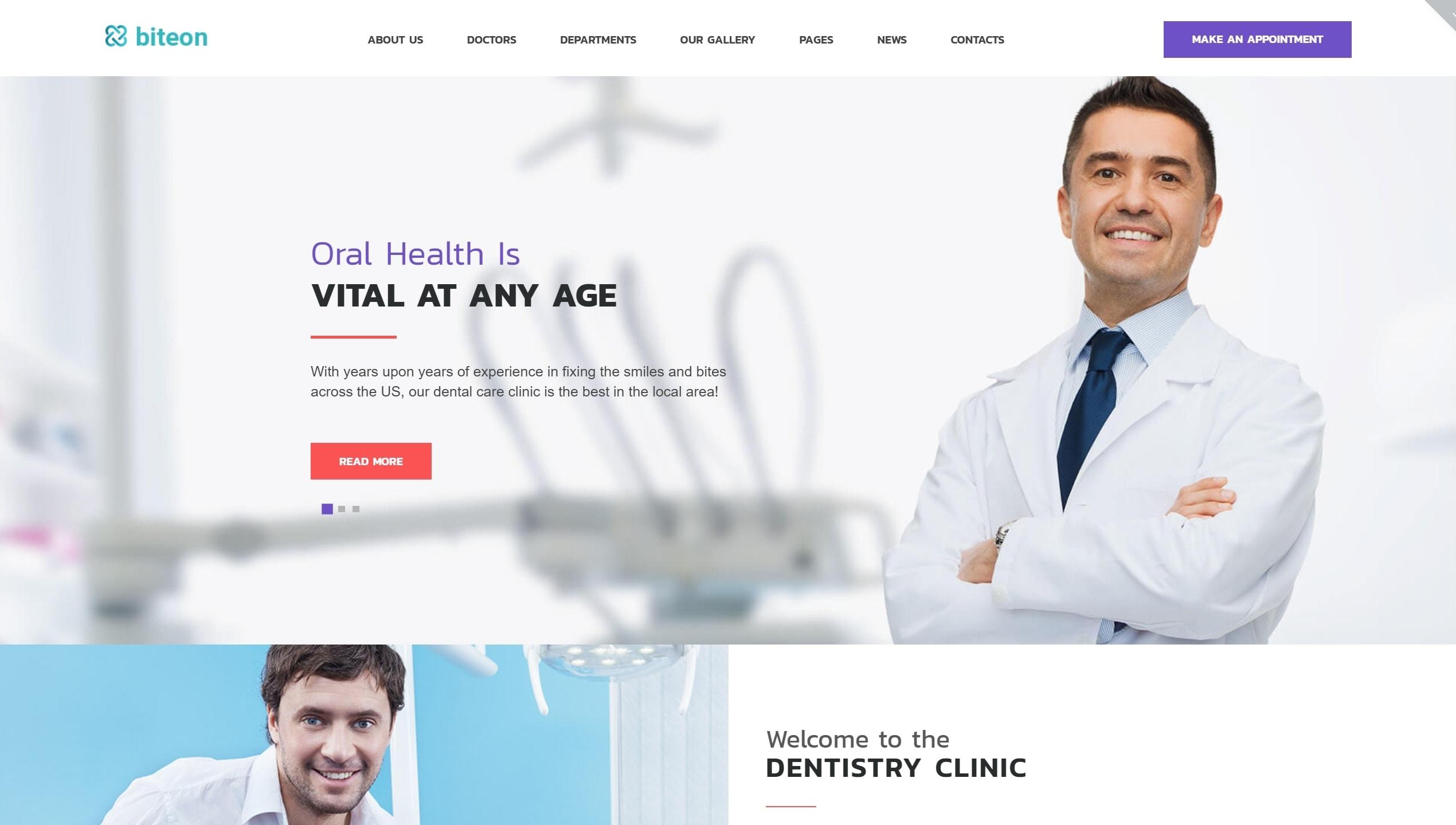 Готовый сайт для врача стоматолога на WordPress с записью