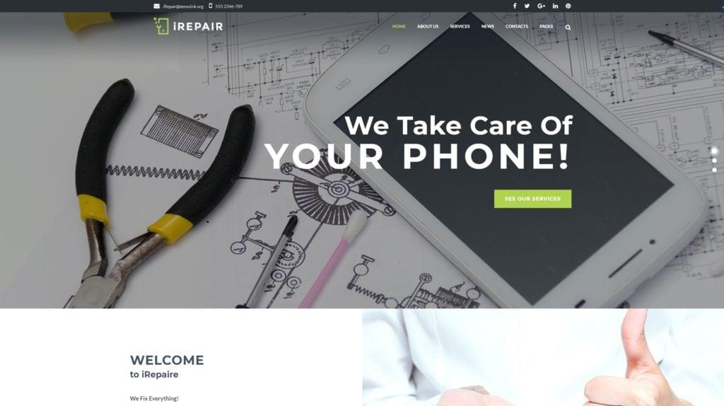 WordPress шаблон ремонт компьютеров и телефонов для сайта сервисного центра 02