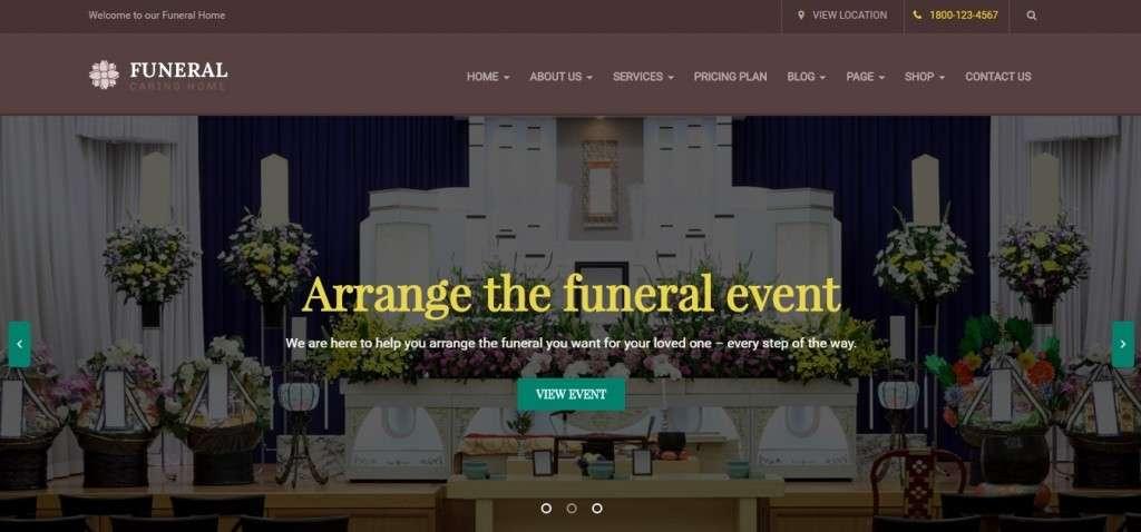 лучший шаблон ритуальных услуг на WordPress 2017 3