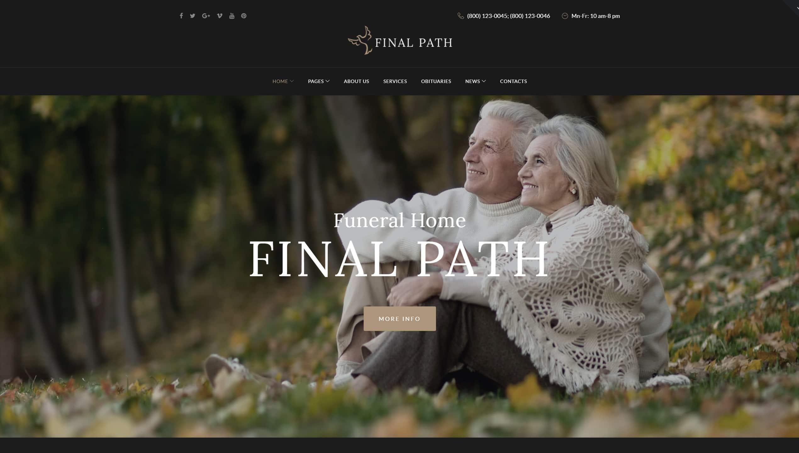 Шаблон ритуальных услуг WordPress для ритуального агентства