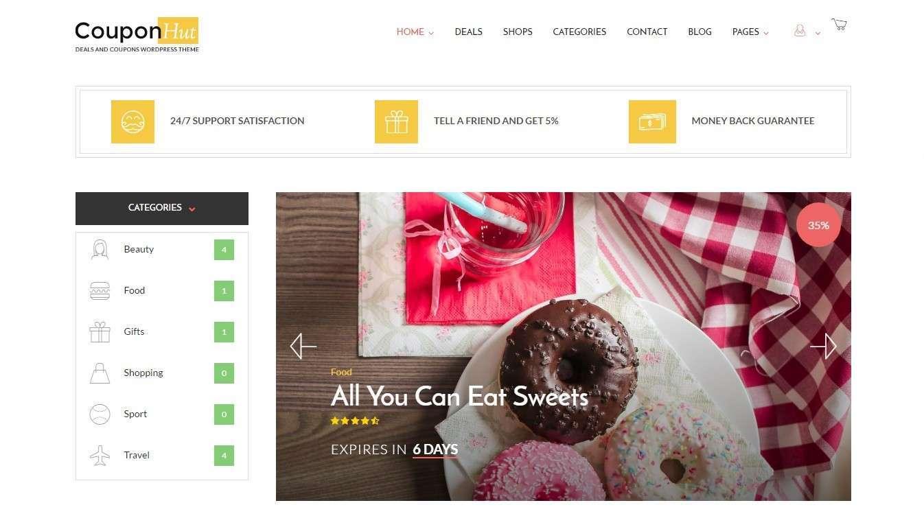 Шаблоны сайта купонов и скидок на WordPress