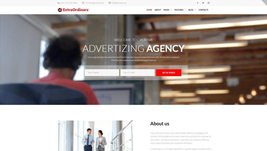 шаблон сайта рекламного агентства с креативным дизайном 01