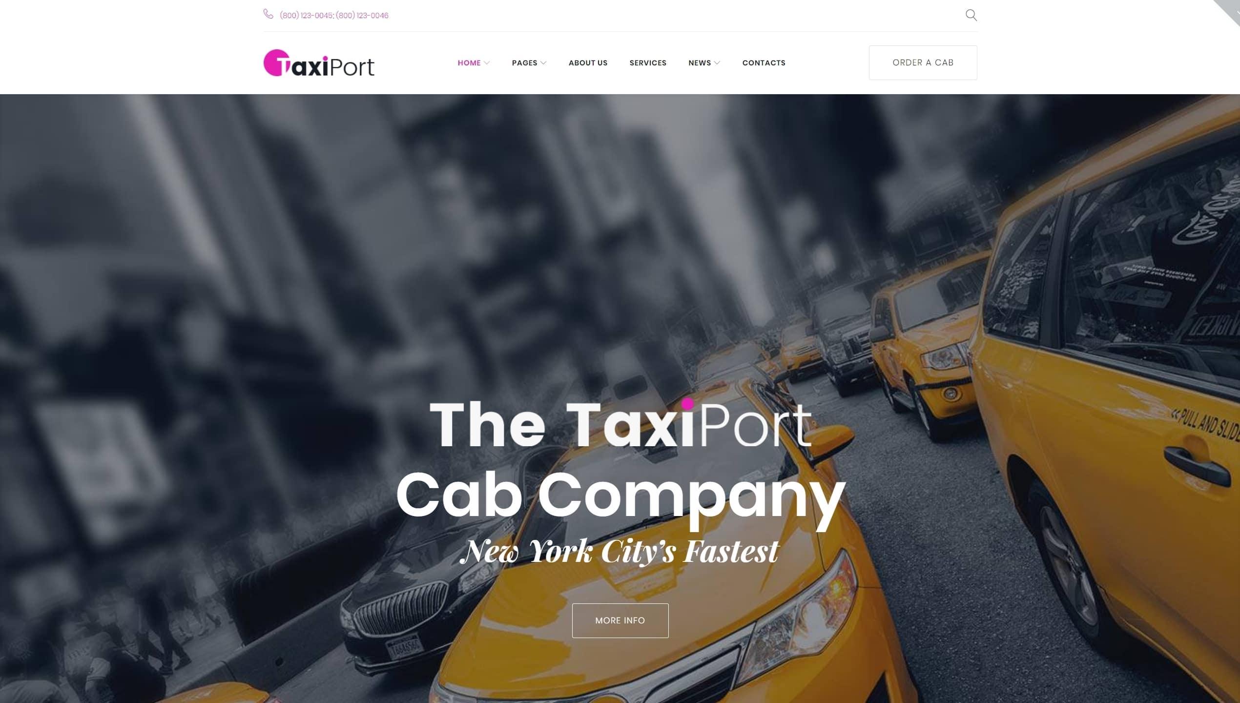 Шаблон сайта такси с классическим желтым дизайном
