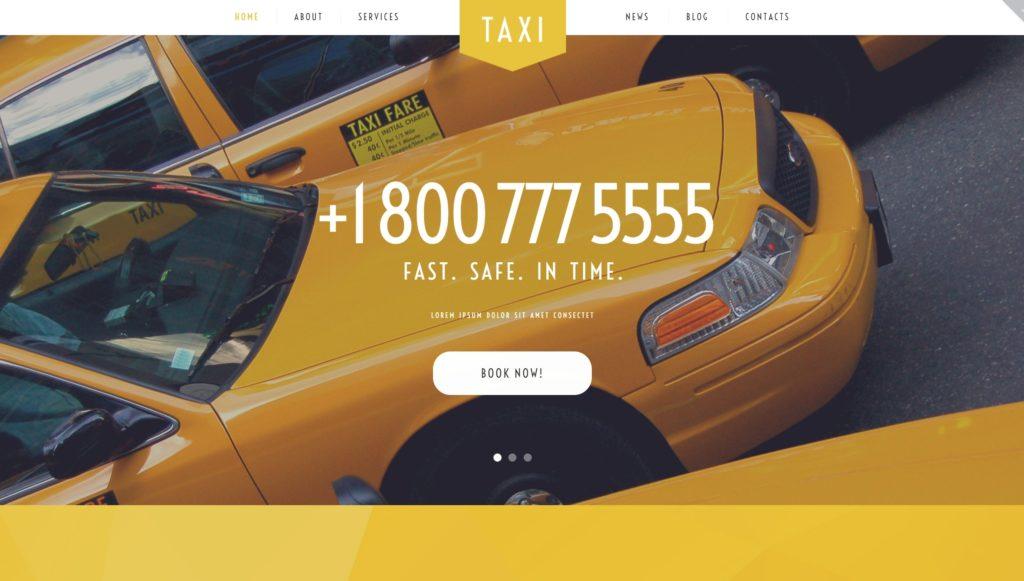 Шаблон сайта такси с классическим желтым дизайном 03
