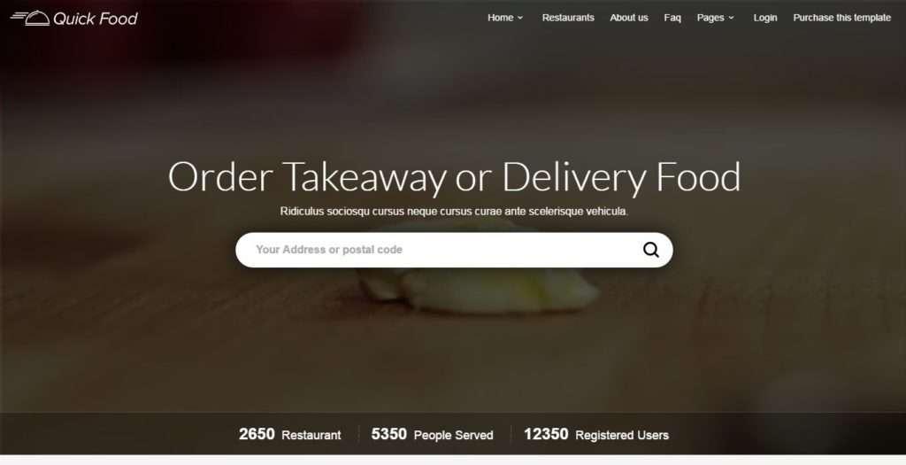 клевый шаблон сайта доставка еды, пиццы и сухофруктов 2017