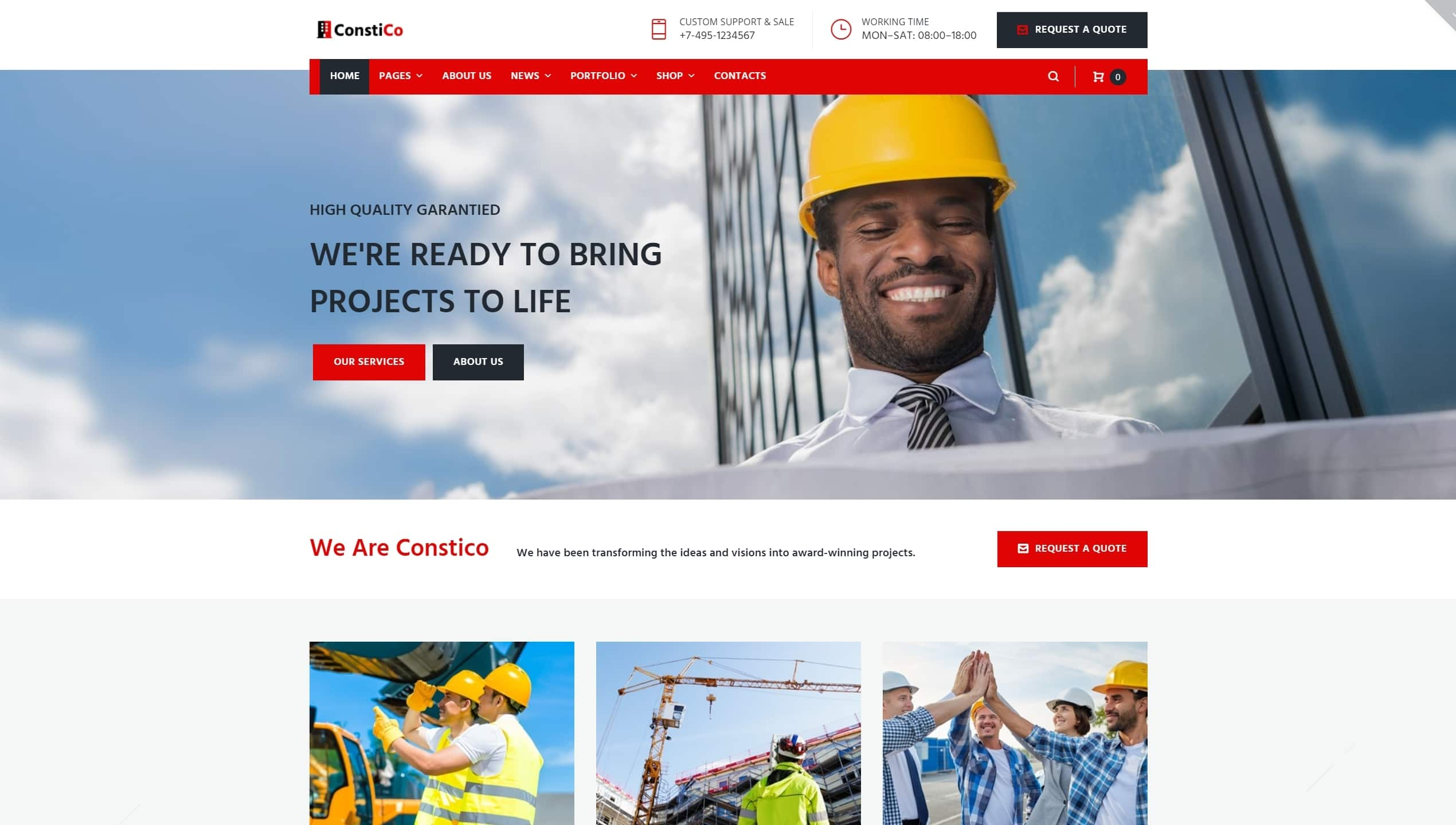 Шаблоны сайтов строительство домов и ремонт на WordPress