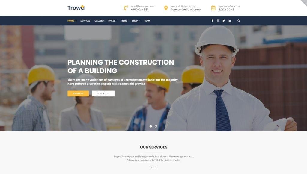 Шаблон сайта стройматериалов с калькулятором услуг 01