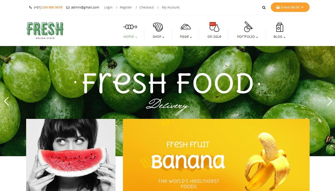 Шаблон для магазина продуктов питания с ярким дизайном