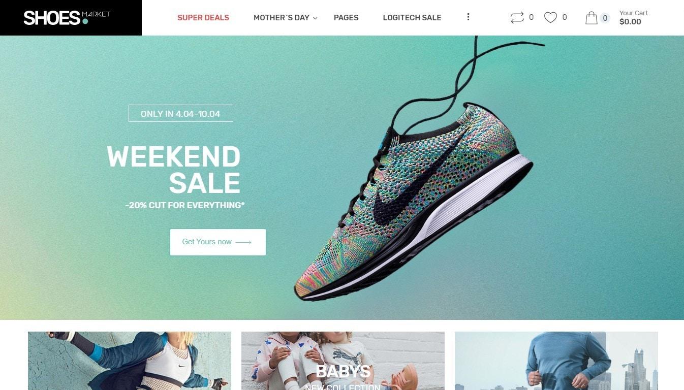 Шаблон интернет магазина обуви с поддержкой атрибутов