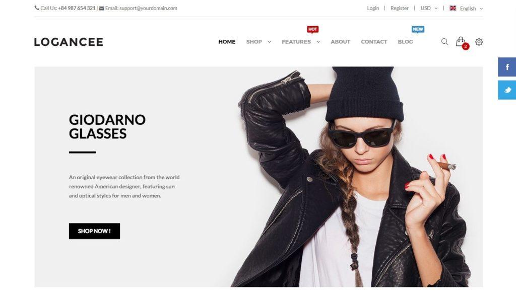 шаблон интернет магазина очков со стильным каталогом и Ajax-функциями 3