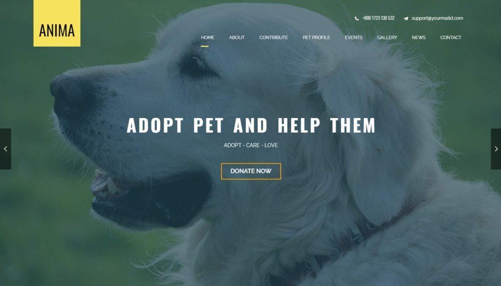 шаблон сайта животные с функцией сбора средств и магазином 05