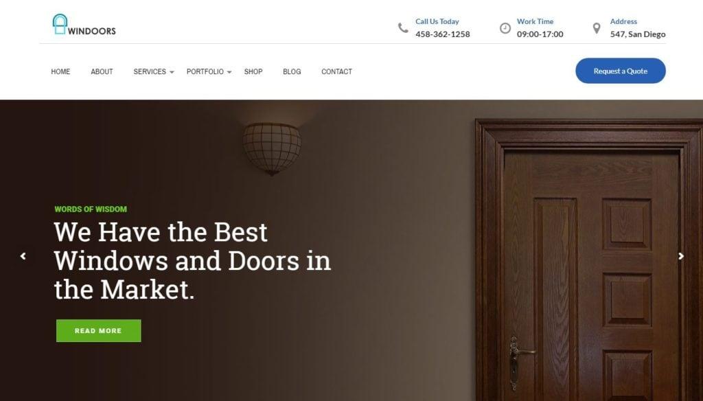 шаблон сайта дверей для фирм с калькулятором стоимости услуг 1