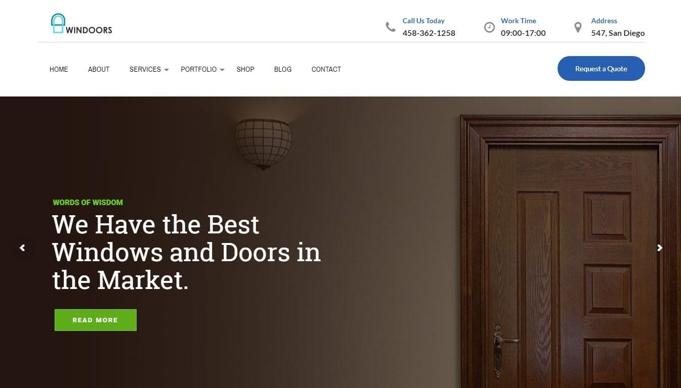 Шаблон сайта дверей для фирм с калькулятором стоимости услуг