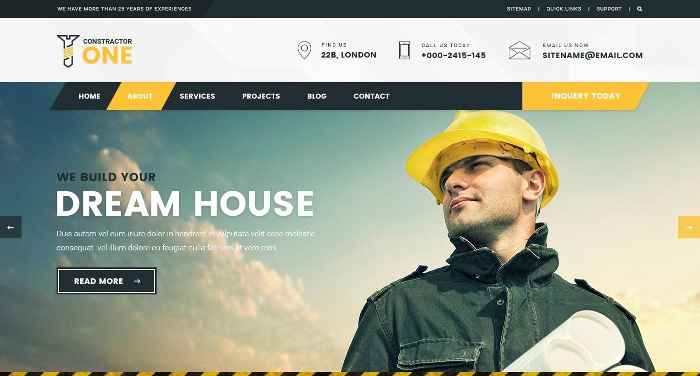 Макет строительного сайта для серьезного бизнеса