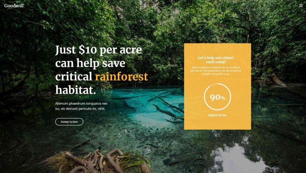 сайт экологической организации на WordPress с функцией сбора средств 01