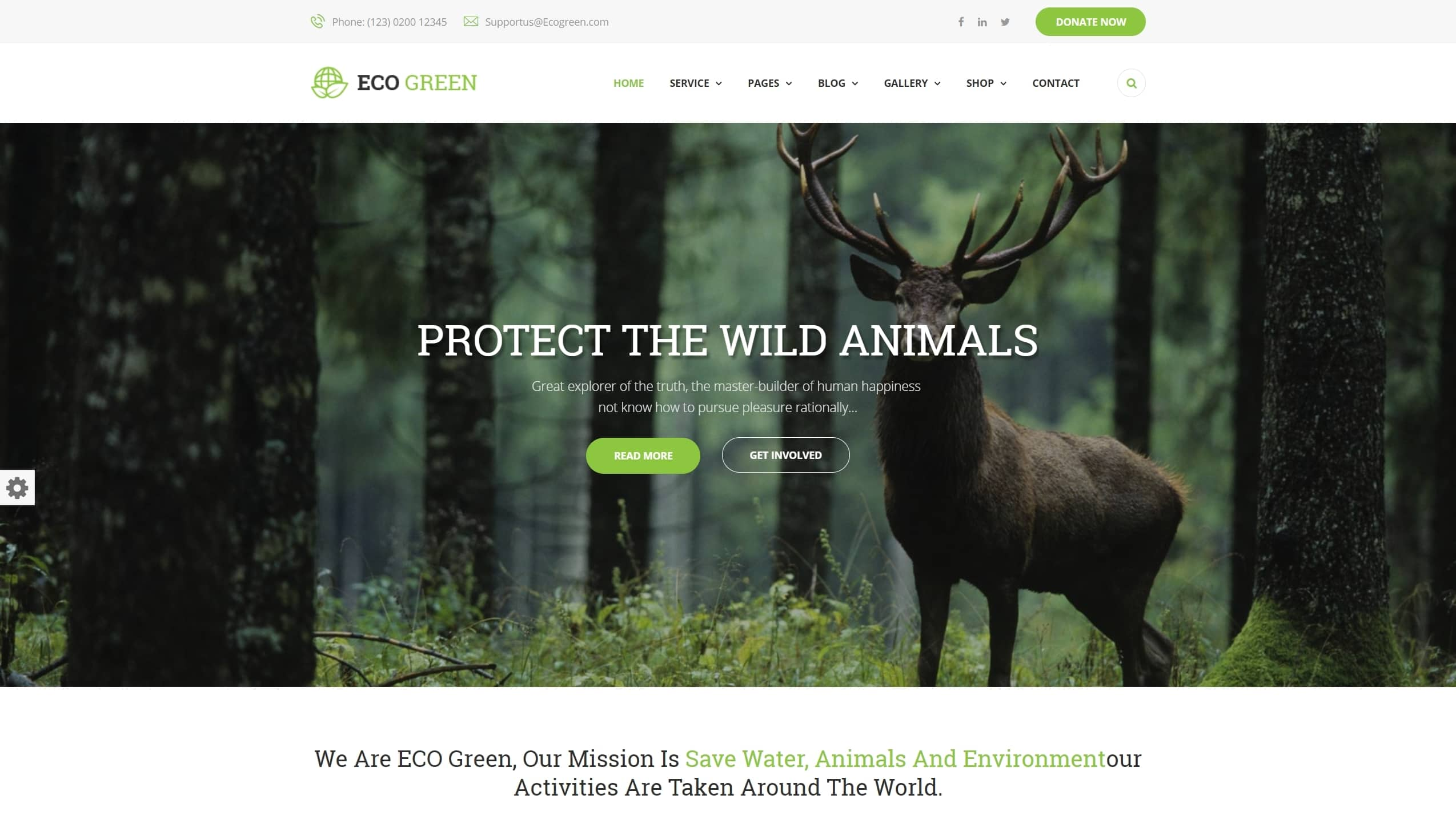 Сайт экологической организации на WordPress с функцией сбора средств