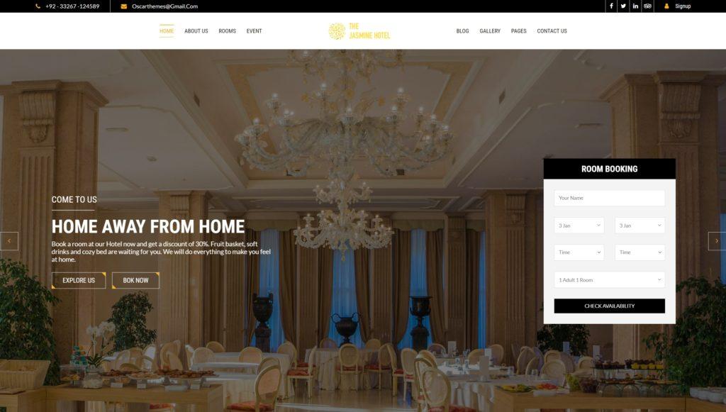шаблон сайта гостиницы HTML с онлайн-поиском номеров 02