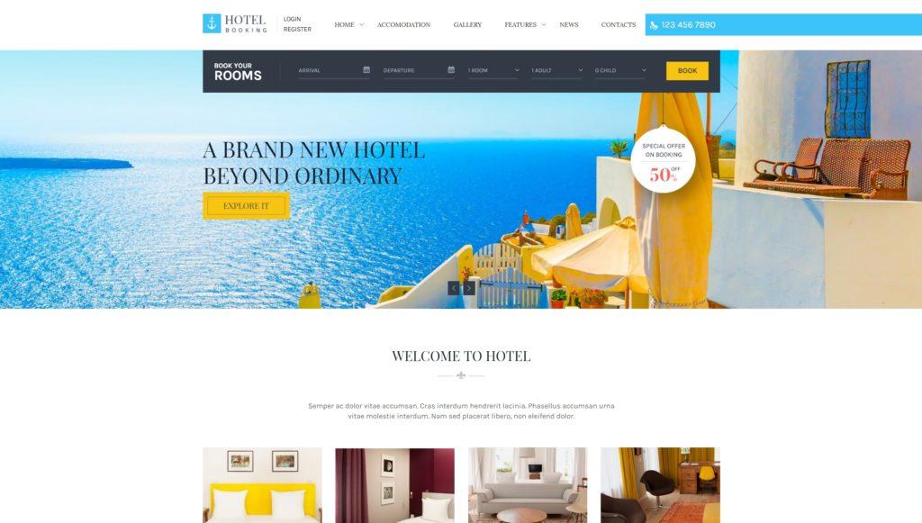 шаблон сайта гостиницы HTML с онлайн-поиском номеров 06