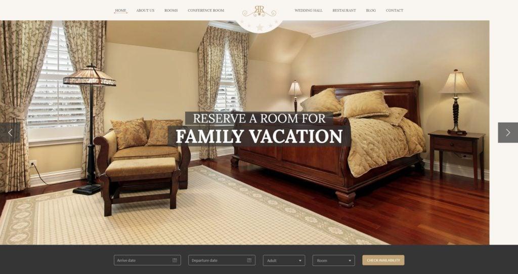 шаблон сайта гостиницы HTML с онлайн-поиском номеров 17