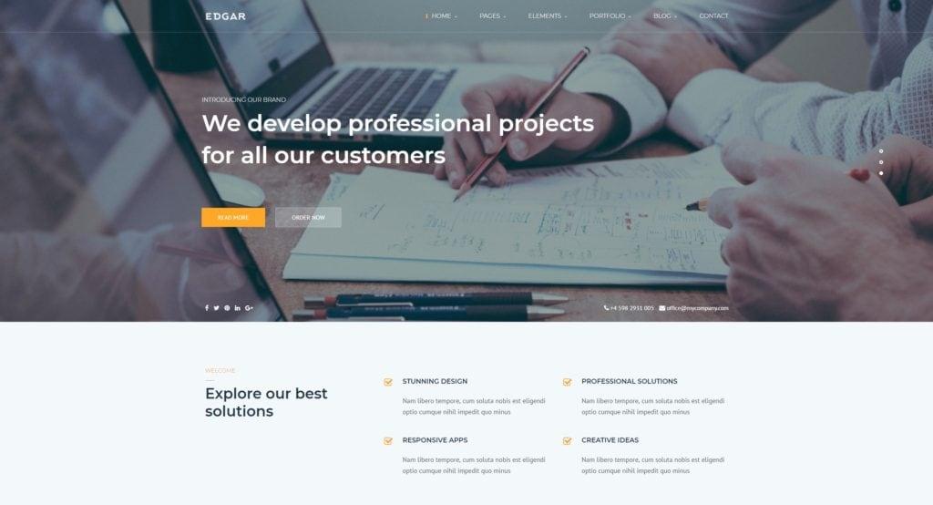 шаблон сайта компании HTML с премиальным дизайном 06
