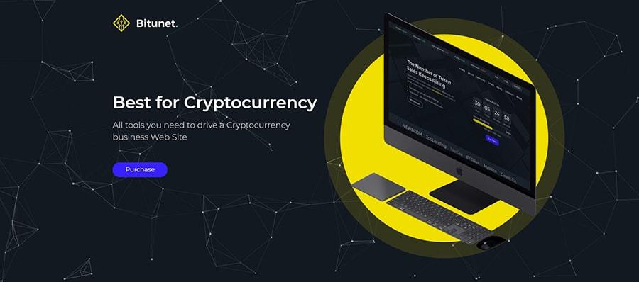Обзор шаблон Bitunet по криптовалюте