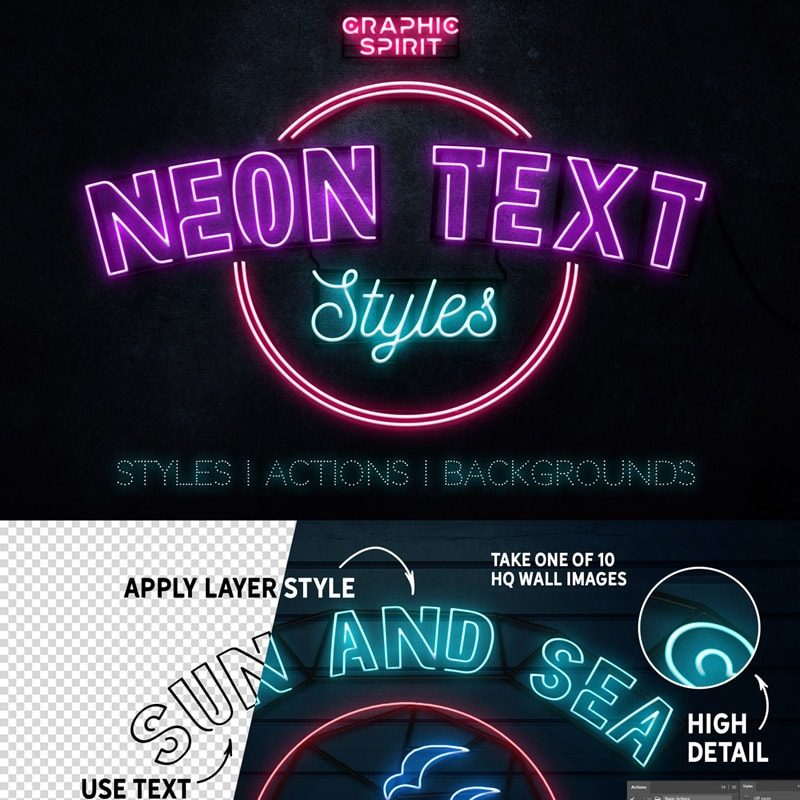 Бандл Neon Text Layer Styles & Extras