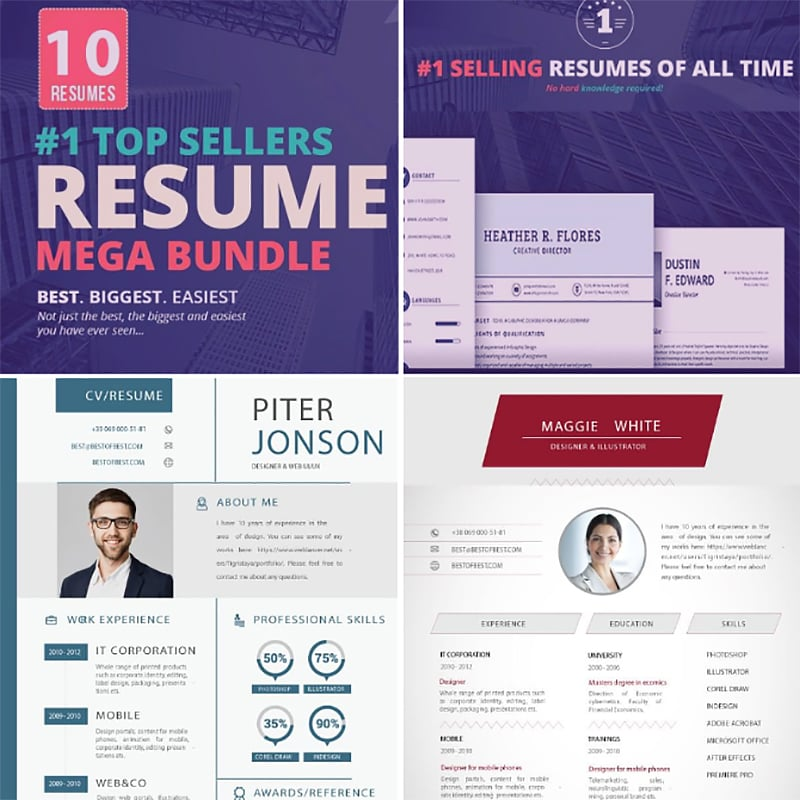 Бандл Top Selling Resume/CV Bundle: 10 Templates
